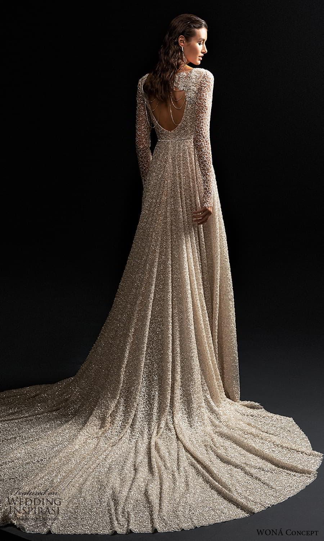 wona concept 2022 bridal long sleeve v neckline fully embellished a line wedding dress chapel train (1) bv
