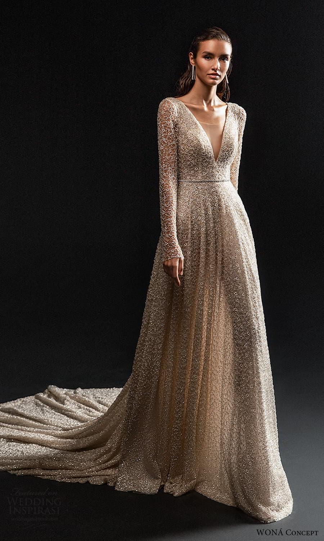 wona concept 2022 bridal long sleeve v neckline fully embellished a line wedding dress chapel train (1) mv
