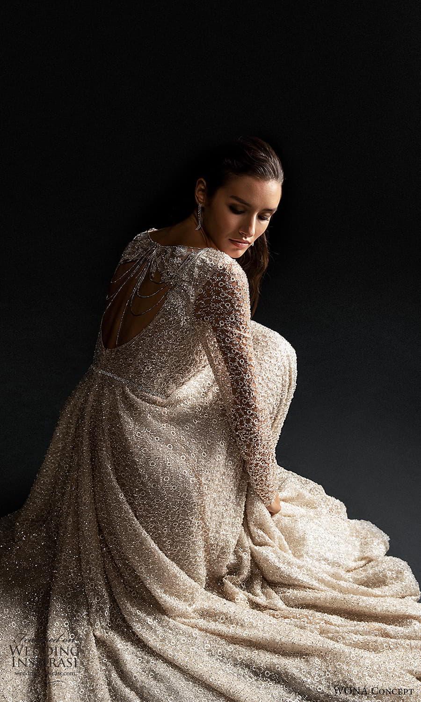 wona concept 2022 bridal long sleeve v neckline fully embellished a line wedding dress chapel train (1) zbv