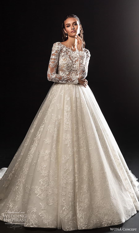 wona concept 2022 bridal long sleeves jewel neckline heavily embellished bodice a line wedding dress chapel train (27) mv