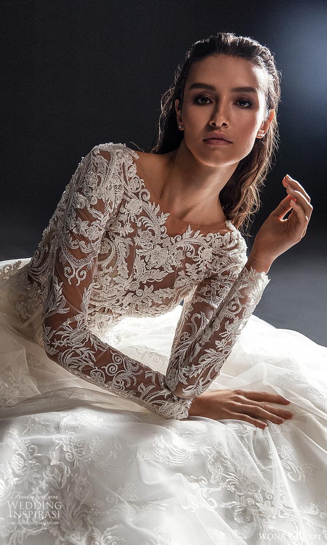 wona concept 2022 bridal long sleeves jewel neckline heavily embellished bodice a line wedding dress chapel train (27) zv
