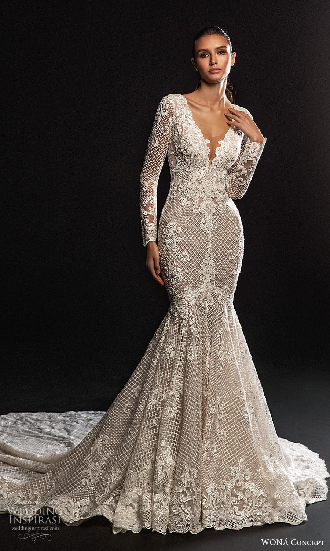 wona concept 2022 bridal long sleeves plunging v neckline fully embellished lace fit flare mermaid wedding dress chapel train (4) mv