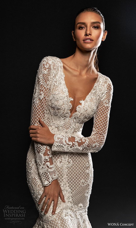 wona concept 2022 bridal long sleeves plunging v neckline fully embellished lace fit flare mermaid wedding dress chapel train (4) zv