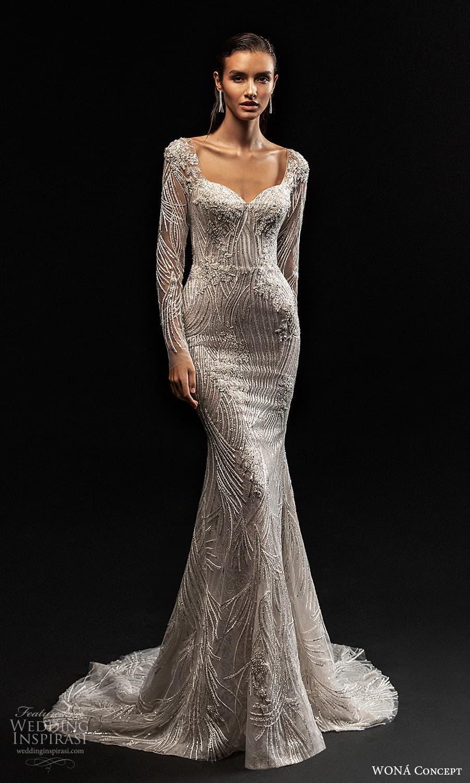 wona concept 2022 bridal long sleeves queen anne sweetheart neckline fully embellished sheath wedding dress sweep train (20) mv