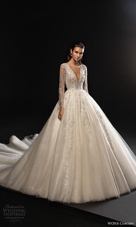 wona concept 2022 bridal long sleeves v neckline fully embellished a line ball gown wedding dress chapel train (6) mv
