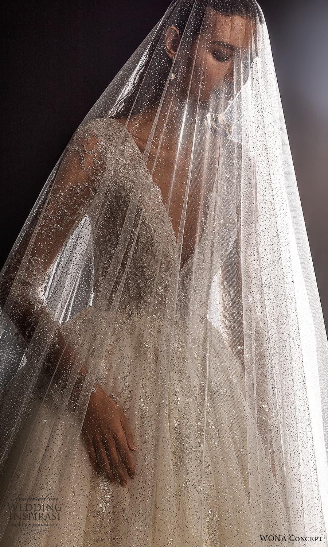 wona concept 2022 bridal long sleeves v neckline fully embellished a line ball gown wedding dress chapel train veil (6) zv