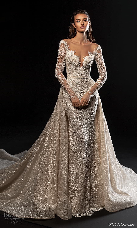 wona concept 2022 bridal sheer long sleeve v neckline fully embellished lace sheath wedding dress a line overskirt (2) mv