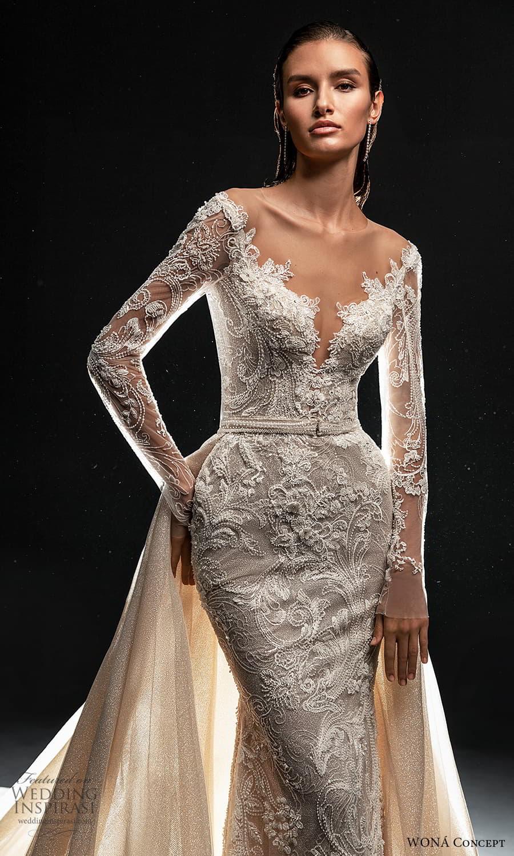 wona concept 2022 bridal sheer long sleeve v neckline fully embellished lace sheath wedding dress a line overskirt (2) zv