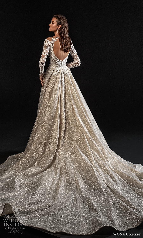 wona concept 2022 bridal sheer long sleeve v neckline fully embellished lace sheath wedding dress a line overskirt keyhole back (2) bv