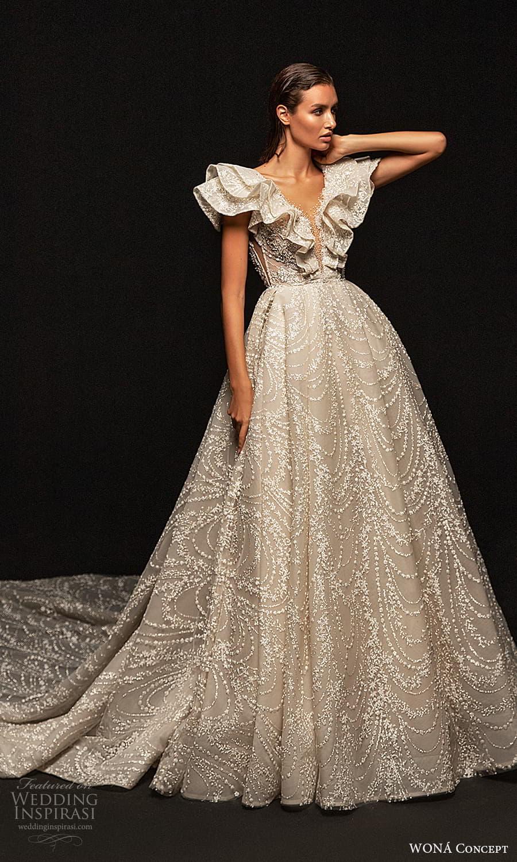 wona concept 2022 bridal short flutter sleeves v neckline fully embellished a line ball gown wedding dress chapel train (17) mv