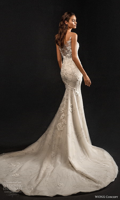 wona concept 2022 bridal sleeveless illusion straps sweetheart neckline fully embellished sheath wedding dress chapel train (9) bv