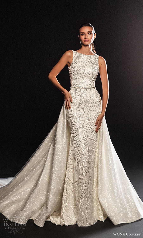 wona concept 2022 bridal sleeveless straps bateau neckline fully embellished sheath wedding dress a line overskirt chapel train (18) mv