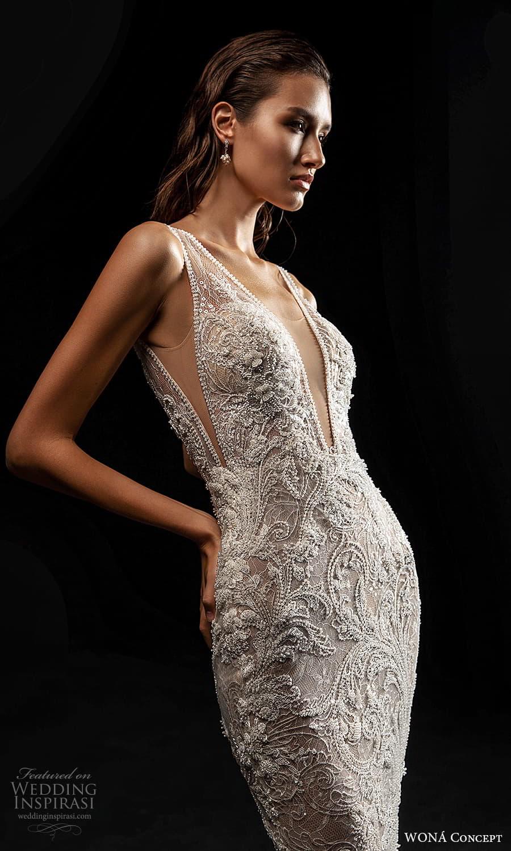 wona concept 2022 bridal sleeveless straps plunging v neckling fully embellished sheath wedding dress (10) zv