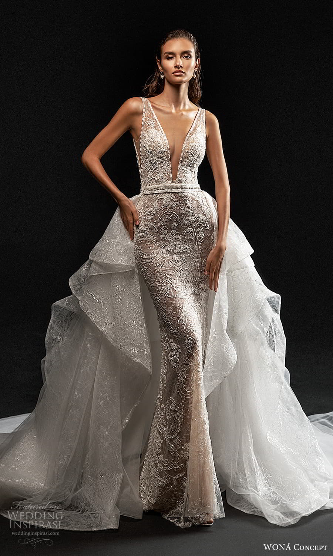 wona concept 2022 bridal sleeveless straps plunging v neckling fully embellished sheath wedding dress a line overskirt (10) mv