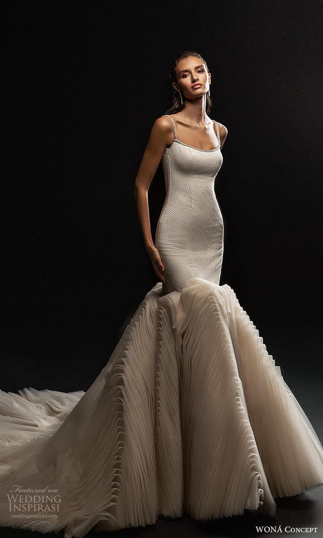 wona concept 2022 bridal sleeveless straps scoop neckline embellished bodice fit flare mermaid wedding dress flange skirt chapel train (3) mv