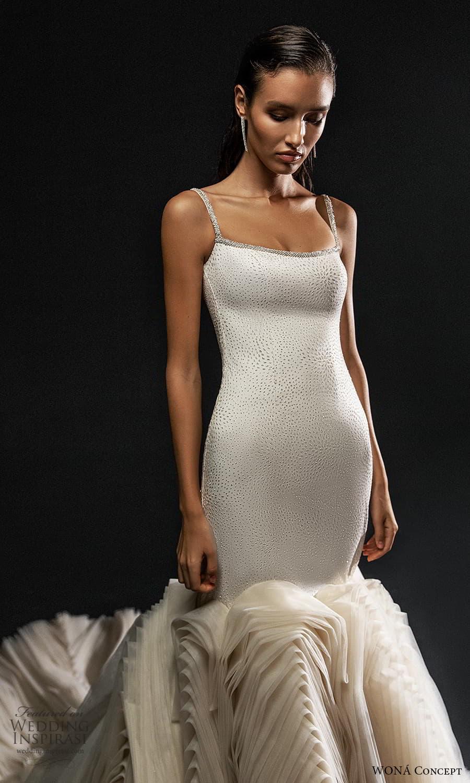 wona concept 2022 bridal sleeveless straps scoop neckline embellished bodice fit flare mermaid wedding dress flange skirt chapel train (3) zv