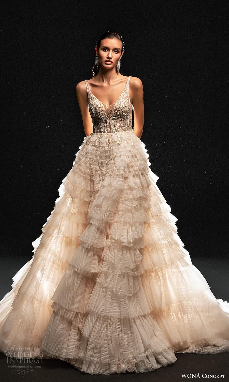 wona concept 2022 bridal sleeveless straps scoop neckline heavily embellished bodice a line ball gown wedding dress ruffle skirt blush (14) mv