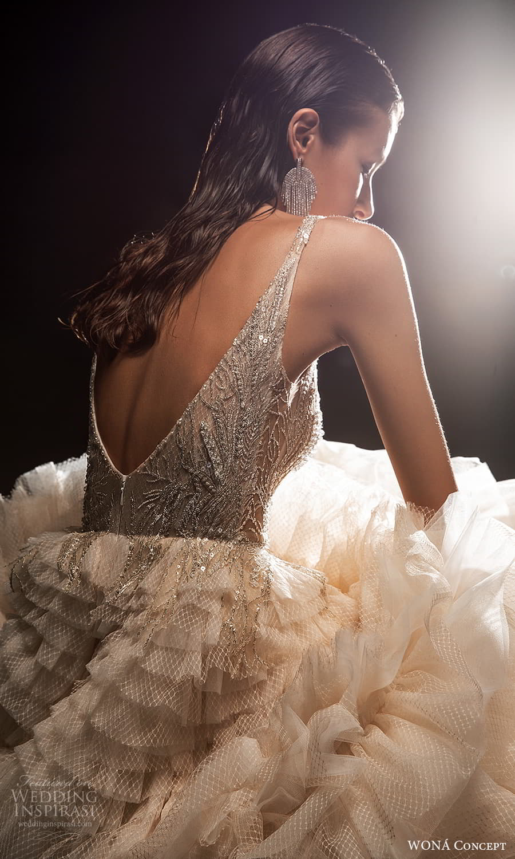 wona concept 2022 bridal sleeveless straps scoop neckline heavily embellished bodice a line ball gown wedding dress ruffle skirt blush (14) zbv