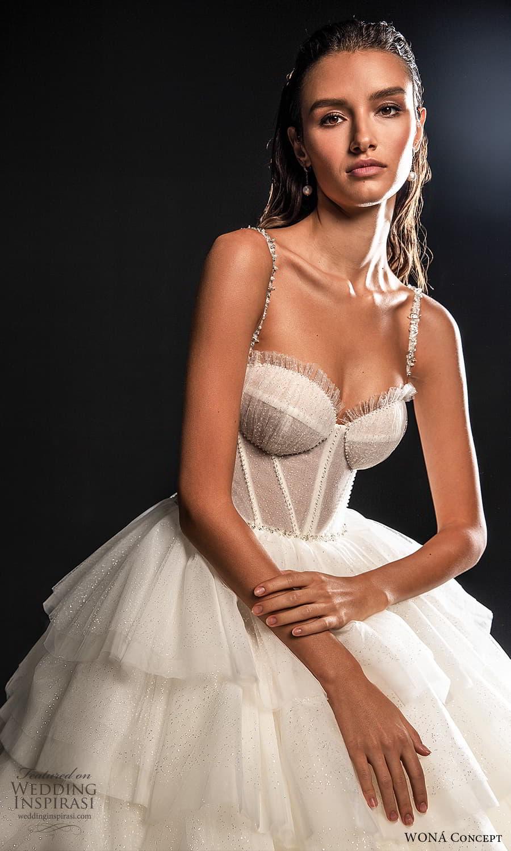 wona concept 2022 bridal sleeveless straps sweetheart neckline corset bodice a line ball gown wedding dress tiered skirt (19) mv