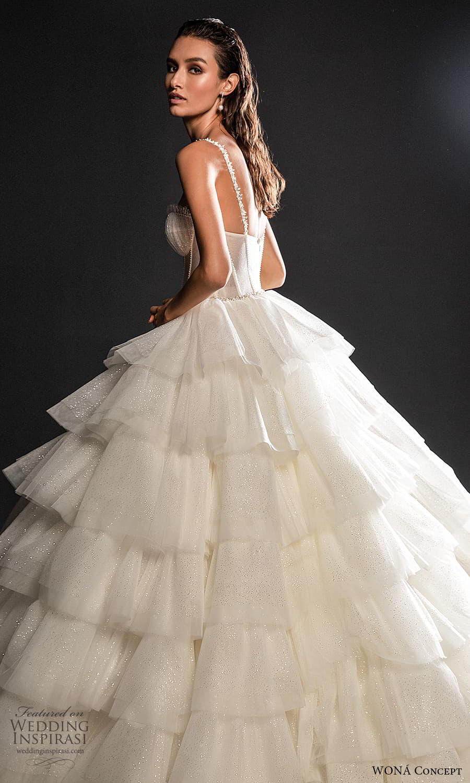 wona concept 2022 bridal sleeveless straps sweetheart neckline corset bodice a line ball gown wedding dress tiered skirt (19) sv