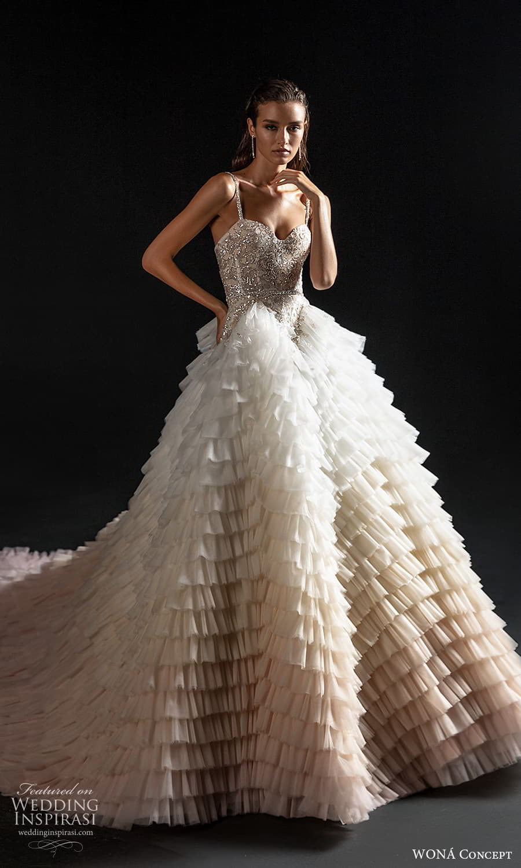 wona concept 2022 bridal sleeveless straps sweetheart neckline embellished bodice a line ball gown wedding dress chapel train ombre skirt (8) mv