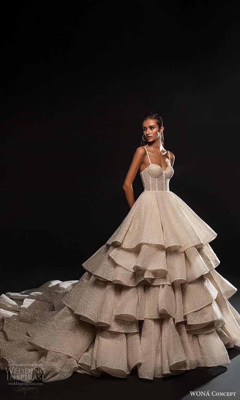 wona concept 2022 bridal sleeveless straps sweetheart neckline fully embellished a line ball gown wedding dres layered skirt (15) mv