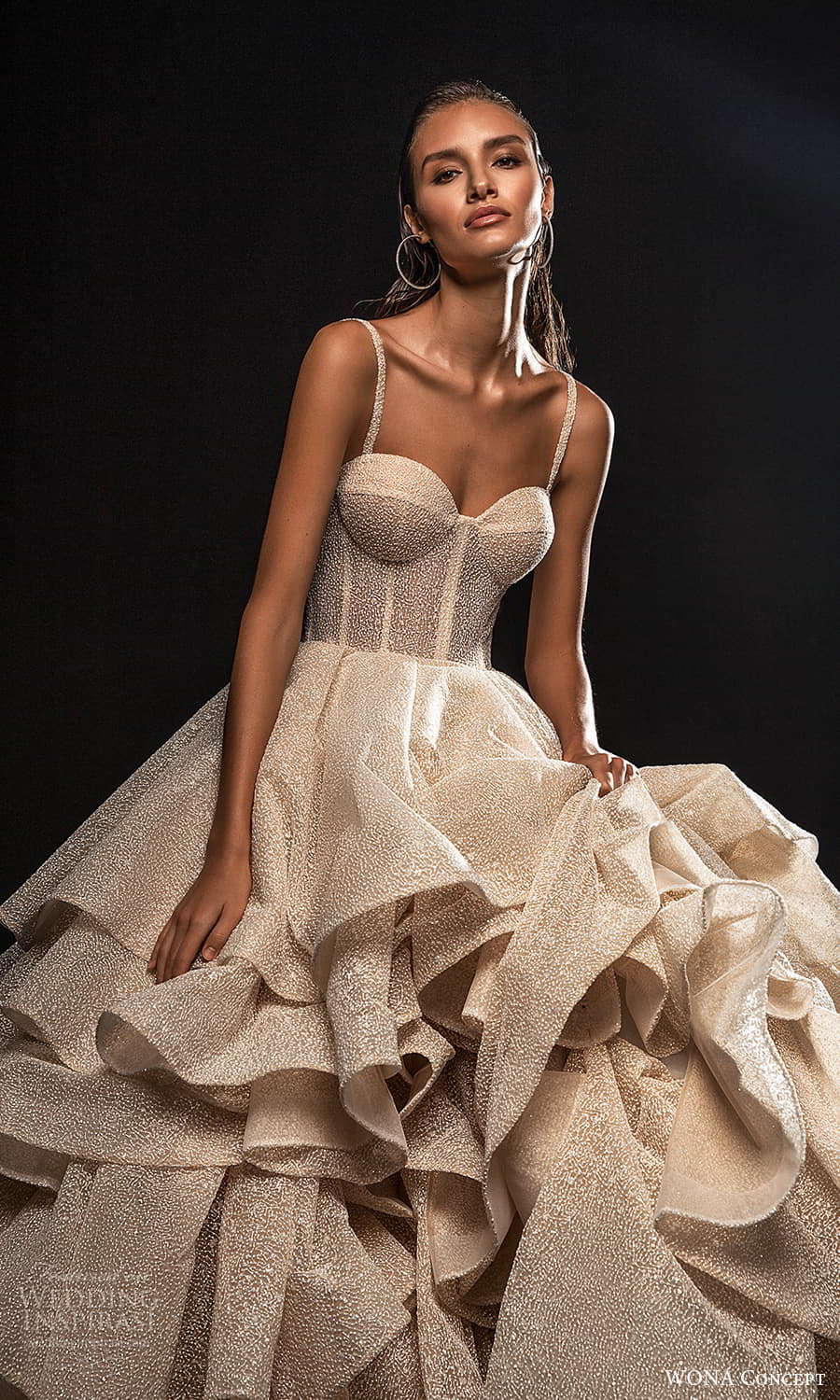 wona concept 2022 bridal sleeveless straps sweetheart neckline fully embellished a line ball gown wedding dres layered skirt (15) zv