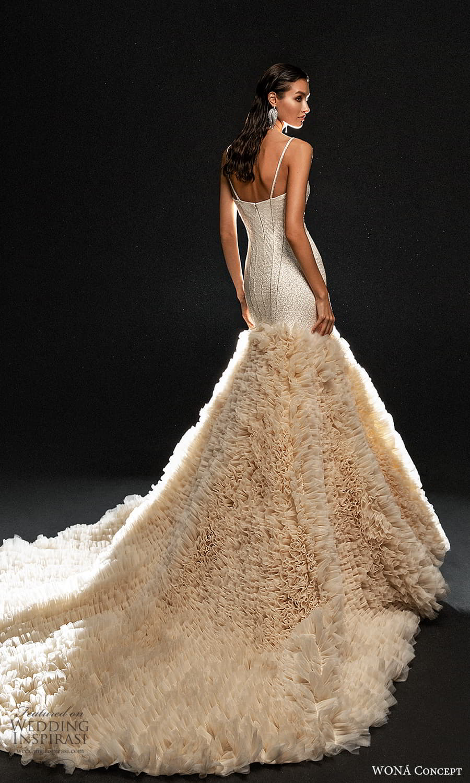 wona concept 2022 bridal sleeveless straps sweetheart neckline heavily bodice fit flare wedding dress ruffle skirt chapel train blush (12) bv