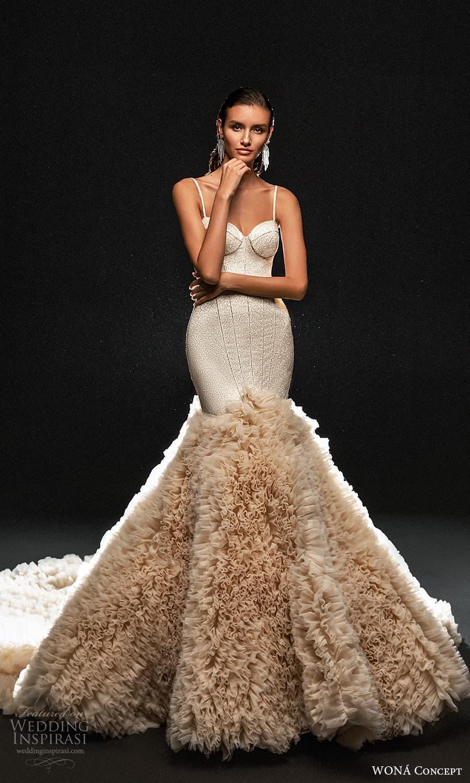 wona concept 2022 bridal sleeveless straps sweetheart neckline heavily bodice fit flare wedding dress ruffle skirt chapel train blush (12) mv