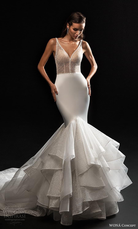wona concept 2022 bridal sleeveless straps v neckline embellished bodice clean skirt mermaid wedding dress (22) mv
