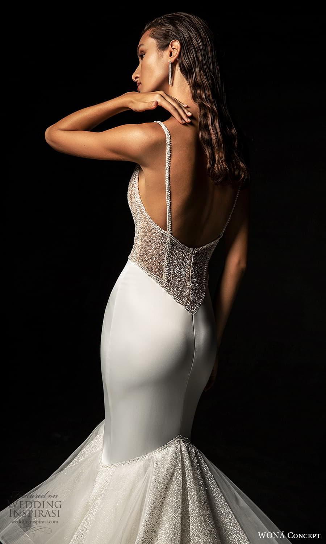 wona concept 2022 bridal sleeveless straps v neckline embellished bodice clean skirt mermaid wedding dress (22) zbv