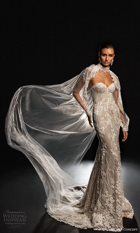 wona concept 2022 bridal strapless sweetheart neckline fully embellished sheath wedding dress chapel train sheer cape (13) mv
