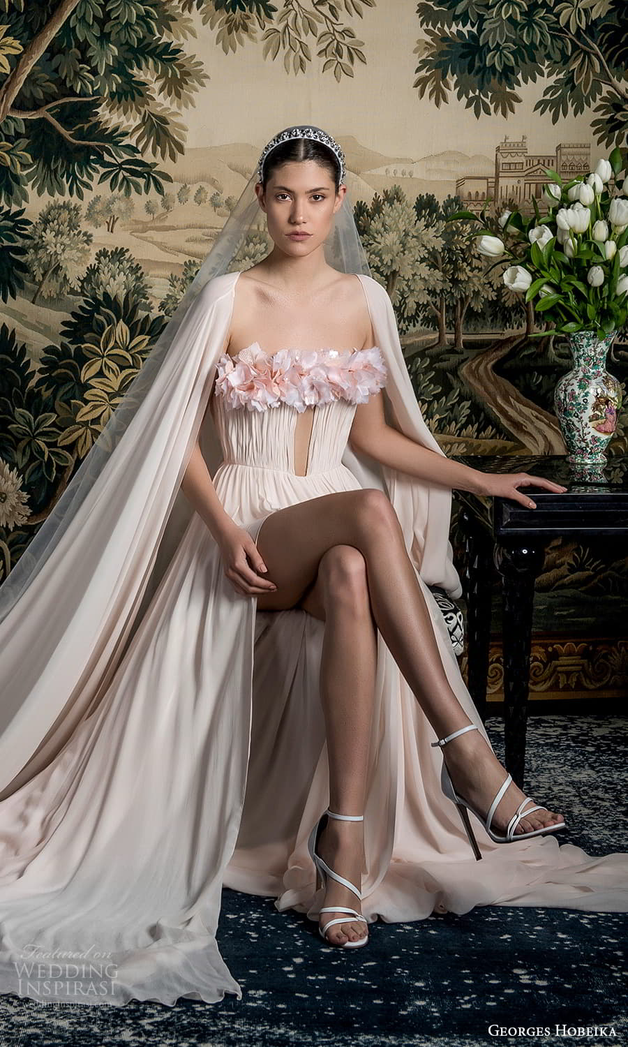 georges hobeika spring 2022 bridal cape sleeves embellished straight across neckline ruched bodice a line wedding dress pink chapel train (6) fv