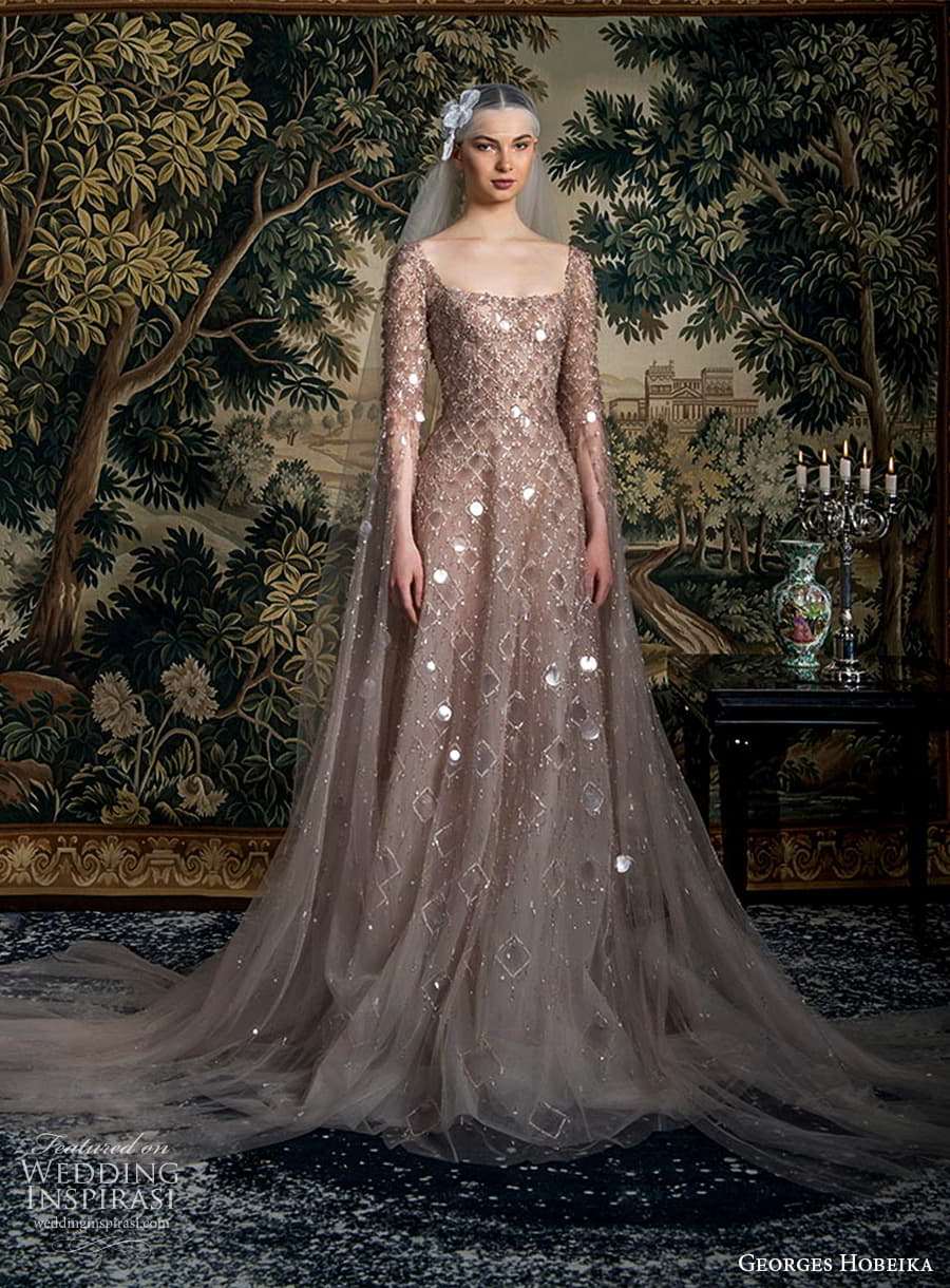 georges hobeika spring 2022 bridal long flare sleeves square neckline fully embellished a line ball gown wedding dress chapel train (3) fv