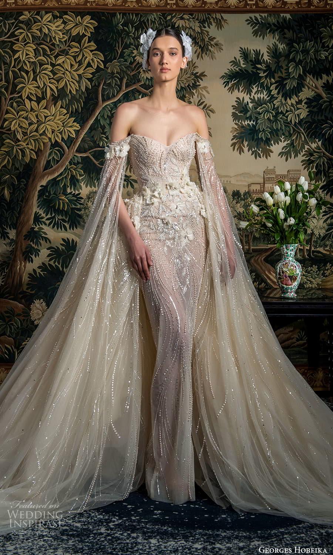 georges hobeika spring 2022 bridal off shoulder floor length split sleeves sweetheart neckline fully embellished sheath a line overskirt (1) mv