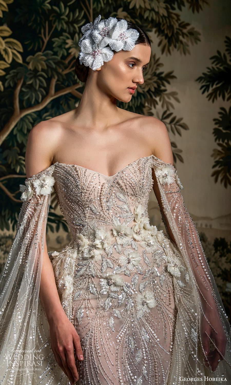 georges hobeika spring 2022 bridal off shoulder floor length split sleeves sweetheart neckline fully embellished sheath a line overskirt (1) zv