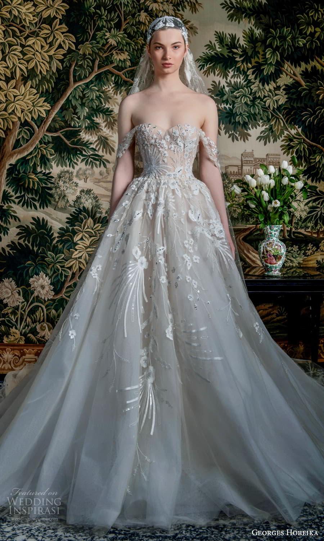 georges hobeika spring 2022 bridal off shoulder straps sweetheart neckline fully embellished a line ball gown wedding dress chapel train (2) mv