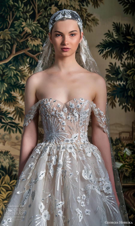 georges hobeika spring 2022 bridal off shoulder straps sweetheart neckline fully embellished a line ball gown wedding dress chapel train (2) zv