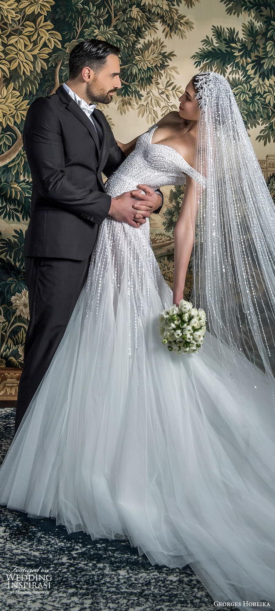 georges hobeika spring 2022 bridal off shoulder straps sweetheart neckline fully embellished fit flare wedding dress chapel train (4) lv