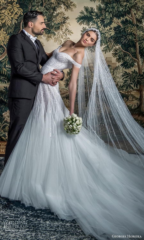 georges hobeika spring 2022 bridal off shoulder straps sweetheart neckline fully embellished fit flare wedding dress chapel train (4) mv