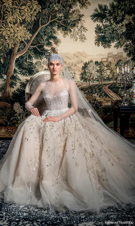 georges hobeika spring 2022 bridal sheer long sleeve jewel neckline embellished bodice a line wedding dress (11) mv