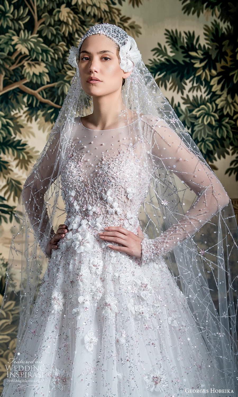 georges hobeika spring 2022 bridal sheer long sleeve jewel neckline fully embellished a line wedding dress (9) fv