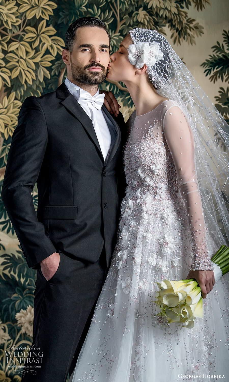 georges hobeika spring 2022 bridal sheer long sleeve jewel neckline fully embellished a line wedding dress (9) zsv