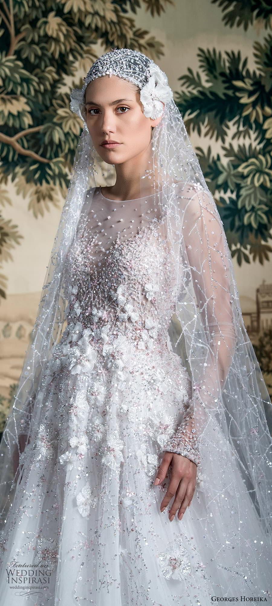georges hobeika spring 2022 bridal sheer long sleeve jewel neckline fully embellished a line wedding dress (9) zv