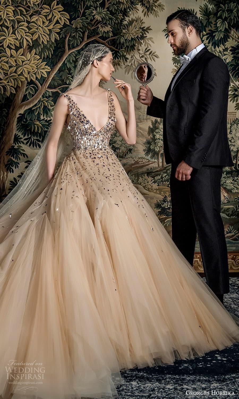 georges hobeika spring 2022 bridal sleeveless straps v neckline heavily embellished bodice a line wedding dress chapel train (8) mv
