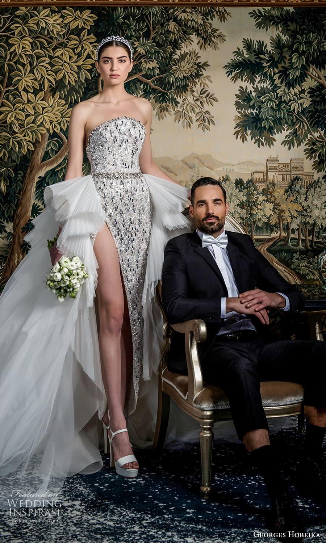 georges hobeika spring 2022 bridal strapless curve neckline heavily embellished sheath wedding dress slit skirt a line ruffle overskirt silver (4) mv