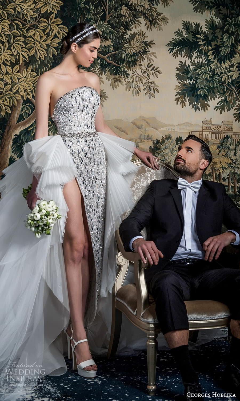 georges hobeika spring 2022 bridal strapless curve neckline heavily embellished sheath wedding dress slit skirt a line ruffle overskirt silver (4) sv