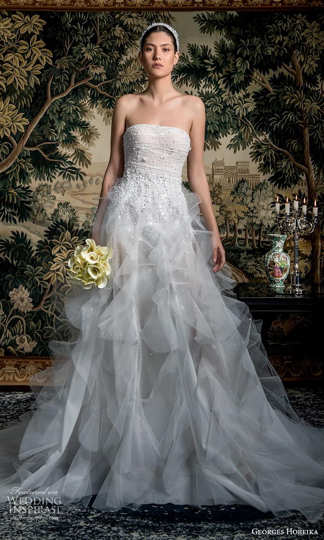 georges hobeika spring 2022 bridal strapless straight across neckline fully embellished a line wedding dress ruffle skirt (13) mv