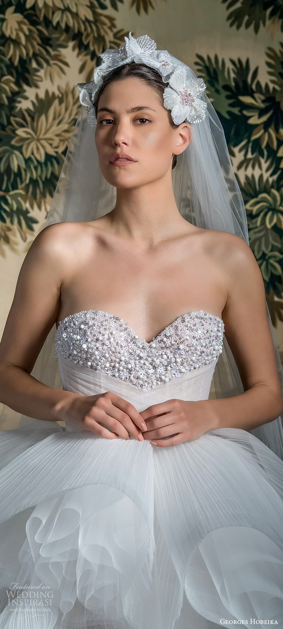 georges hobeika spring 2022 bridal strapless sweetheart neckline embellished bodice tiered ruched skirt ball gown wedding dress (5) lv