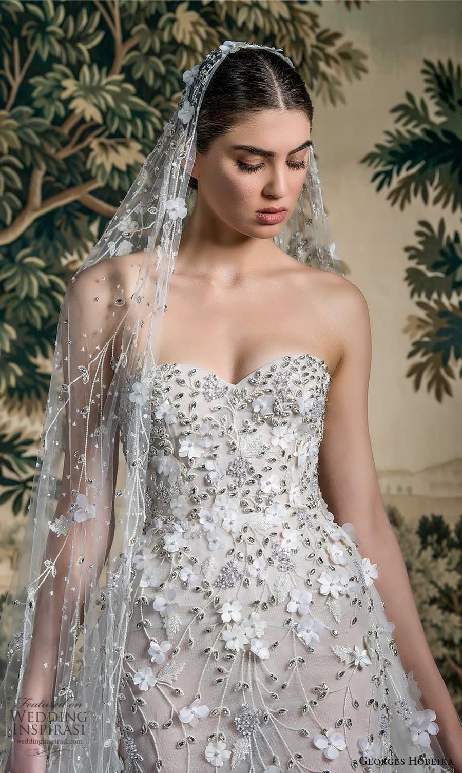 georges hobeika spring 2022 bridal strapless sweetheart neckline fully embellished sheath wedding dress a line overskirt (10) lv